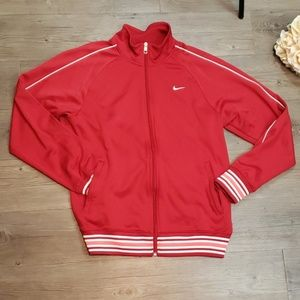 Men's Red NIKE Jacket with White Swoosh